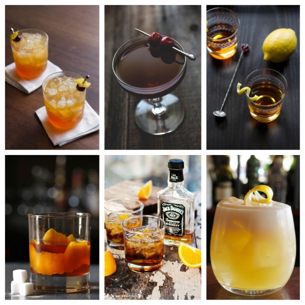 food, drinks, drink recipes, cocktails, cocktail recipes, whiskey, whiskey cocktails, whiskey cocktail recipes, guys drinks, guys whiskey drinks, manhattan recipe, old fashioned cocktail recipe, sazerac recipe, whiskey sour recipe