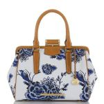 fashion, style, spring fashion, spring style, spring accessories, accessories, bag, handbag, purse, satchel, printed satchel, spring prints, patterned satchel, canvas bag, canvas satchel, delft blue, delft blue pattern, delft blue printed bag, brahmin
