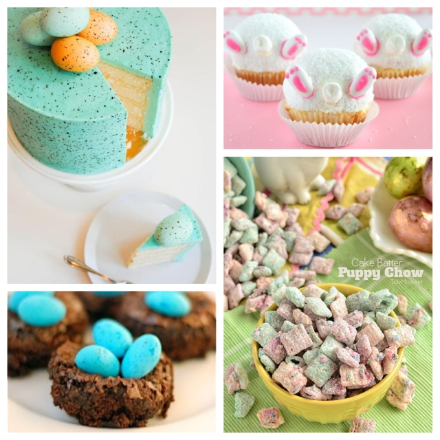 food, dessert, recipe, cooking, baking, dessert recipe, sweets, sweets recipe, easter, easter dessert, easter dessert recipe, easter sweets recipe, easter candy, easter cookies, easter cake, easter chocolates, vanilla cake, easter bunny cupcakes, puppy chow, trail mix, cake batter puppy chow, brownies, easter brownies