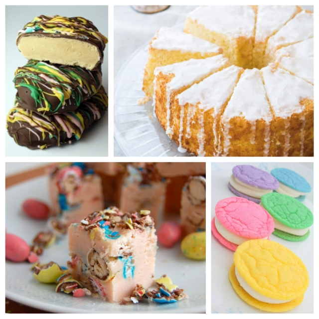 food, dessert, recipe, cooking, baking, dessert recipe, sweets, sweets recipe, easter, easter dessert, easter dessert recipe, easter sweets recipe, easter candy, easter cookies, easter cake, easter chocolates, peanut butter, peanut butter cups, homemade peanut butter cups, lemon cake, cookie sandwiches, fudge, easter fudge