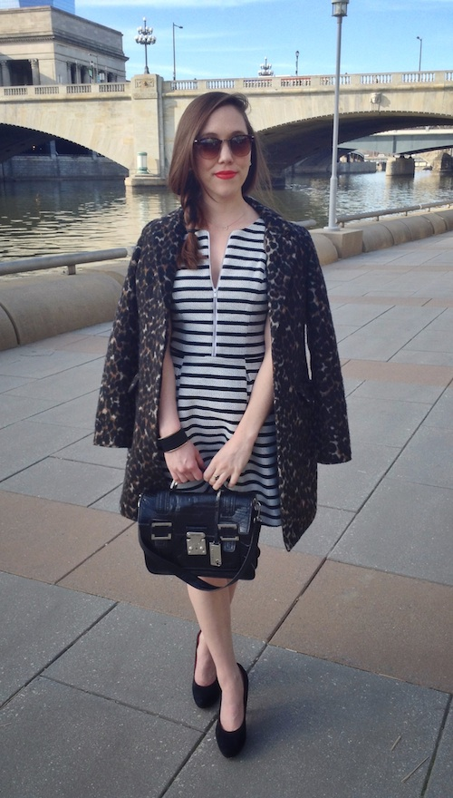 fashion, style, clothing, clothes, shopping, spring, spring style, spring fashion, spring stripes, spring dress, striped dress, coat, spring coat, leopard print coat, heels, black heels, pumps, suede pumps, black pumps, black heels, purse, satchel, black purse, accessories, trends, mixed prints, cuff, cuff bracelet, bracelet, braid, hairstyle, beauty, sunglasses, orange lipstick, loose braid, express, old navy, marc fisher, xappeal, loft
