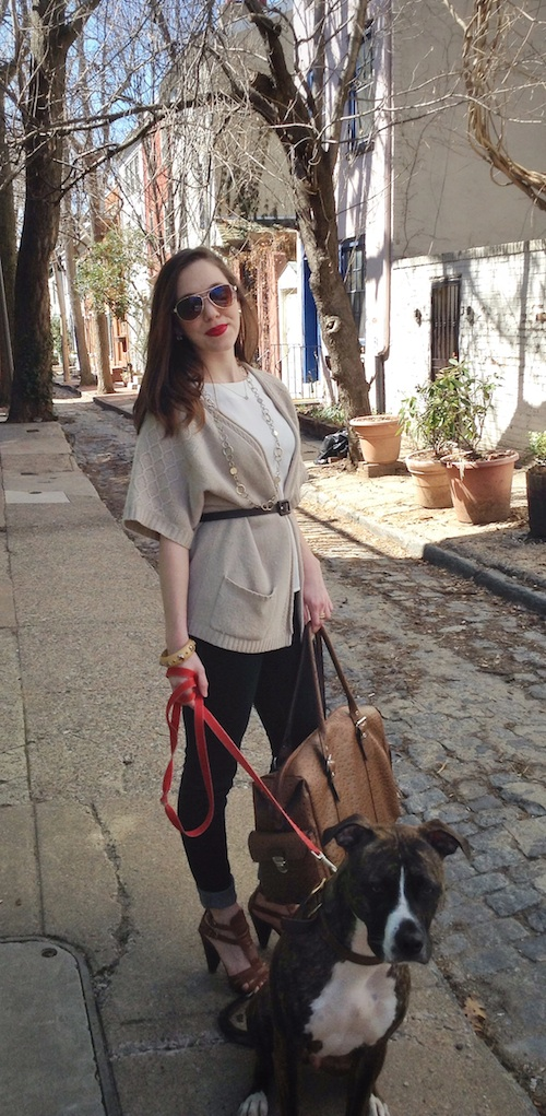 fashion, style, travel, outfit, outfit ideas, belted sweater, layers, spring layers, peplum, peplum top, knit sweater, oversized sweater, denim, dark denim, heeled sandals, spring sandals, spring shoes, travel bag, travel outfit, travel ideas, weekender bag, duffel bag, accessories, bangle, chain necklace, aviators, snakeskin belt, leather bag, horseshoe pendant necklace, kenar, h&m, else, franco sarto, LOFT, dog, puppy, boxer puppy, boxer dog, pit bull puppy, pit bull