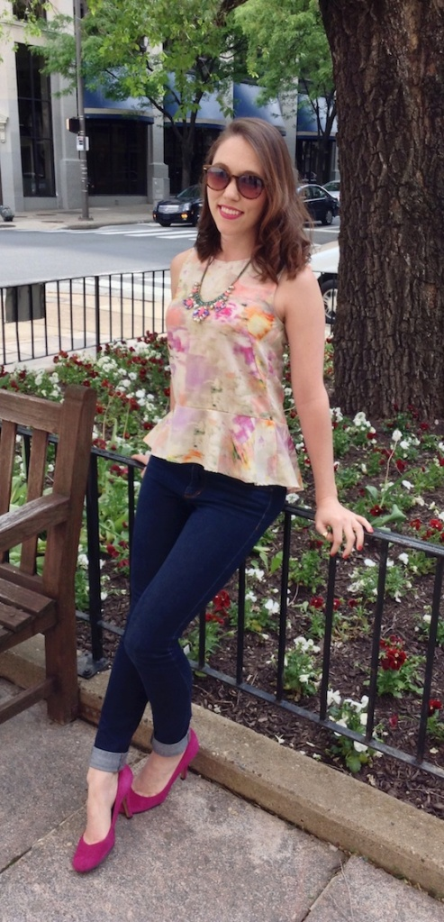 fashion, style, clothes, shopping, spring, spring style, spring fashion, peplum, peplum tank, peplum top, peplum blouse, watercolor peplum blouse, multicolor peplum blouse, watercolor print, watercolor pattern, denim, dark denim, skinny jeans, heels, suede heels, suede pumps, pink heels, pink pumps, shoes, pink shoes, belt, orange belt, jewelry, accessories, statement jewelry, statement earrings, bracelet, beauty, pink lipstick, h&m, else, nine west