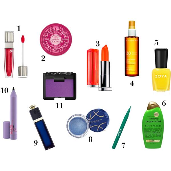 fashion, style, summer, beauty, makeup, skincare, sun protection, summer beauty, summer makeup, summer beauty products, summer style, lipgloss, lip balm, lipstick, sunscreen, suncreen oil, nail polish, summer nail polish, body wash. eye liner, colored eye liner, eyeshadow, perfume, fragrance, lancome, maybelline, clarins, zoya, stila, elizabeth arden, dior, dior addict, mac, nars