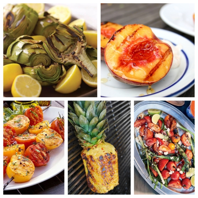 food, cooking, grilling, father's day, father's day dinner, father's day dinner ideas, father's day recipe, father's day grilling recipe, grilling recipes, dinner recipes, grilled vegetables, vegetables, grilled vegetables recipes, barbecue, barbecued recipes, grilled artichokes, grilled peaches, grilled tomatoes, grilled pineapple