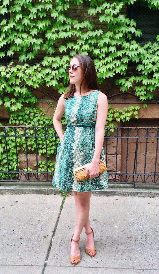 fashion, style, clothing, clothes, shopping, summer, summer style, summer fashion, summer wardrobe, outfit ideas, summer outfits, sundress, fit and flare dress, patterned dress, dress with pockets, belt, snakeskin belt, shoes, wedges, leather wedges, ankle strap wedges, accessories, jewelry, statement earrings, drop earrings, bracelet, bangle, clutch, woven clutch, zara, bauble bar, merona, michael kors, michael michael kors, jessica simpson