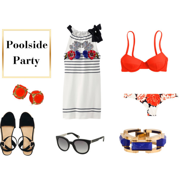 fashion, style, summer, summer style, summer outfit, summer outfit ideas, fourth of july, fourth of july outfit, fourth of july party outfit, 4th of july, 4th of july party, 4th of july party outfit, summer dress, cynthia rowley, bathing suit, bikini, j.crew, jewelry, accessories, bracelet, sunglasses, marc jacobs, shoes, sandals, asos, earrings, stud earrings, kate spade new york