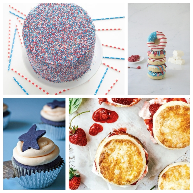 food, cooking, baking, recipes, desserts, sweets, dessert recipes, sweets recipes, fourth of july, july 4th, fourth of july recipes, july 4th recipes, fourth of july dessert recipes, july 4th dessert recipes, cake, ombre cake, patriotic cake, doughnuts, american flag doughnuts, shortcake, strawberry, strawberry shortcake, strawberry basil, strawberry basil shortcake, cupcake, cupcake recipes, red velvet, red velvet cucakes