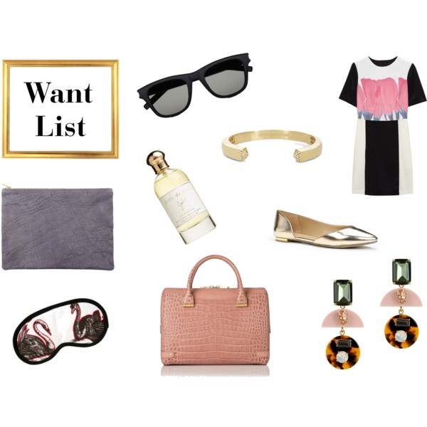 fashion, style, clothes, clothing, shopping, accessories, summer, summer style, summer fashion, summer wardrobe, sunglasses, black sunglasses, designer sunglasses, saint laurent, bracelet, cuff bracelet, bcbgeneration, dress, summer dress, tibi, shoes, flats, d'orsay flats, metallic flats, earrings, statement earrings, jewelry, j.crew, bag, leather bag, l.k.bennett, sleep mask, silk sleep mask, leather pouch, pouch, perfume, fragrance, joie, ann taylor, american apparel
