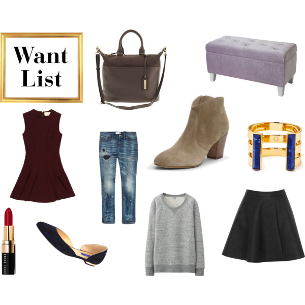 fall outfits, fall style, fall wardrobe, style, fashion, shopping, clothing, bag, work bag, suede bag, leather bag, banana republic, home, home decor, decor, furniture, bench, storage bench, boots, ankle boots, ankle booties, suede booties, club monaco, bracelet, jewelry, accessories, cuff, cuff bracelet, c. wonder, skirt, flared skirt, sweater, sweatshirt, uniqlo, jeans, denim, distressed denim, boyfriend jeans, madewell, shoes, flats, d'orsay flats, suede flats, black flats, lipstick, beauty, makeup, red lipstick, bobbi brown, dress, burgundy dress, fit and flare dress, nicole miller