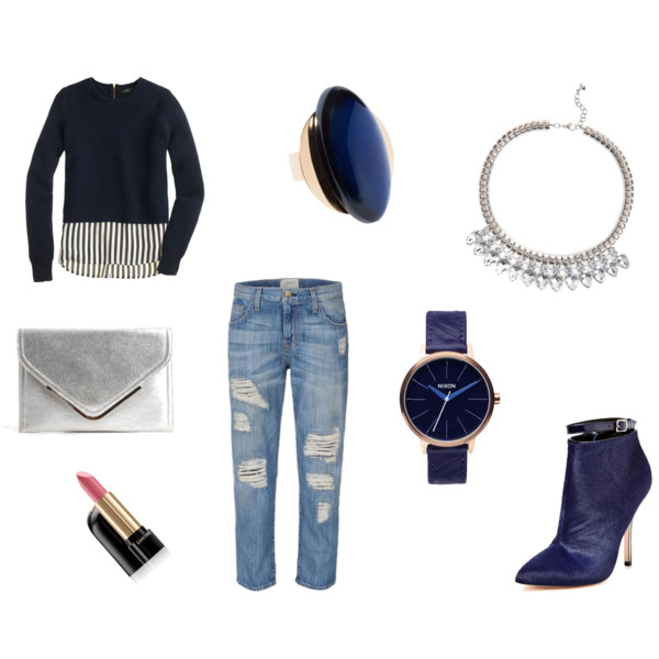 fall, fall fashion, fashion, style, fall style, outfit ideas, fall outfits, fall outfit ideas, fall wardrobe, sweater, fall sweater, denim, distressed denim, j.crew, current/elliot, jewelry, accessories, ring, sapphire ring, cocktail ring, statement ring, marni, necklace, statement necklace, crystal necklace, ted baker, shoes, booties, calf hair booties, ankle-strap booties, maiden lane, watch, nixon, beauty, lipstick, makeup, lancome, clutch, envelope clutch, metallic clutch, bcbgeneration