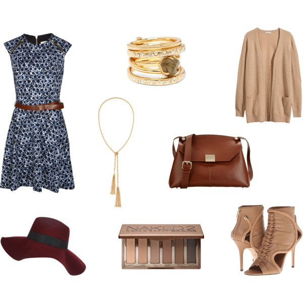 style, fashion, fall style, fall, fall fashion, fall outfits, fall outfit ideas, fall wardrobe, easy fall outfits, dress, printed dress, belted dress, michael kors, rings, accessories, jewelry, stackable rings, alexis bittar, cardigan, oversized cardigan, cashmere cardigan, h&m, bag, leather bag, leather satchel, Carlo Pazolini, booties, open toed booties, rachel roy, makeup, beauty, urban decay, naked2 palette, eyeshadow, eyeshadow palette, hat, oversized hat, floppy hat, river island, necklace, long necklace, gold necklace, tassel necklace, sole society